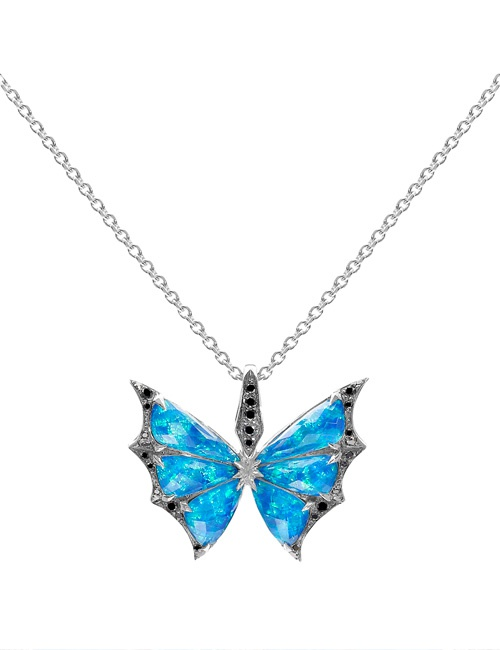 Fly By Night - Crystal Haze Small 18k White Gold & Black Opalescent Pendant