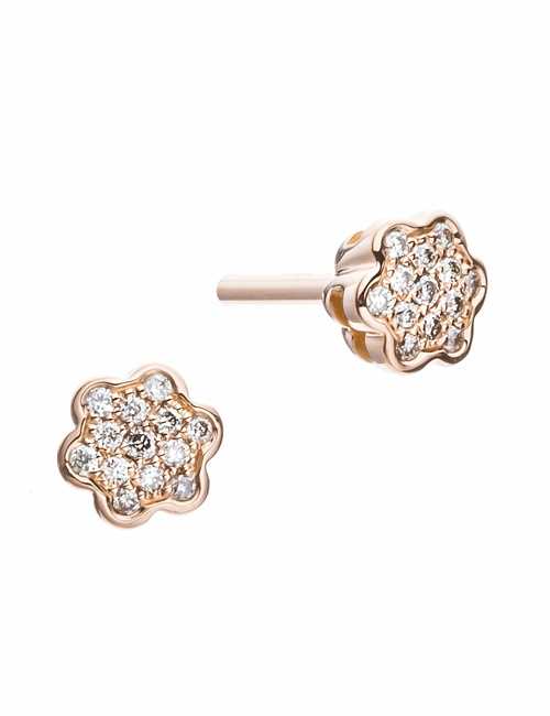 Tiny Mandala Collection Studs Rose Gold