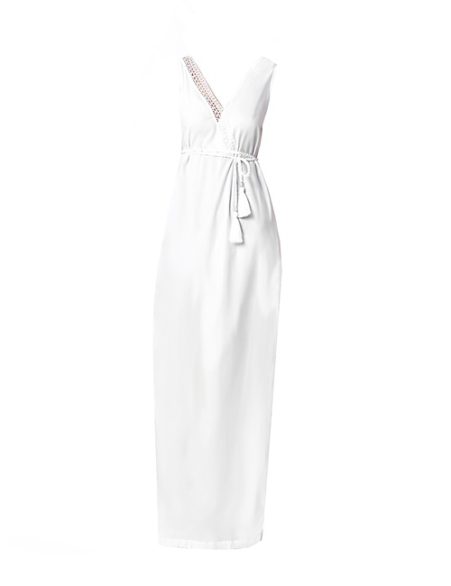 Voile Maxi Dress with Needle Lace in White