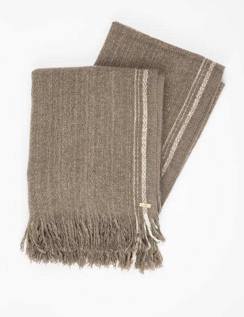 Yak Hand Woven Selvedge Stripe Throw – Brown