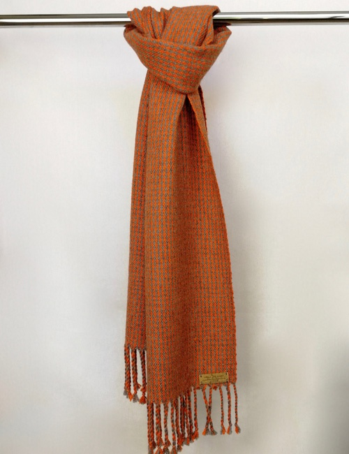 Unisex Houndstooth Medium Grey And Orange Handwoven Scarf