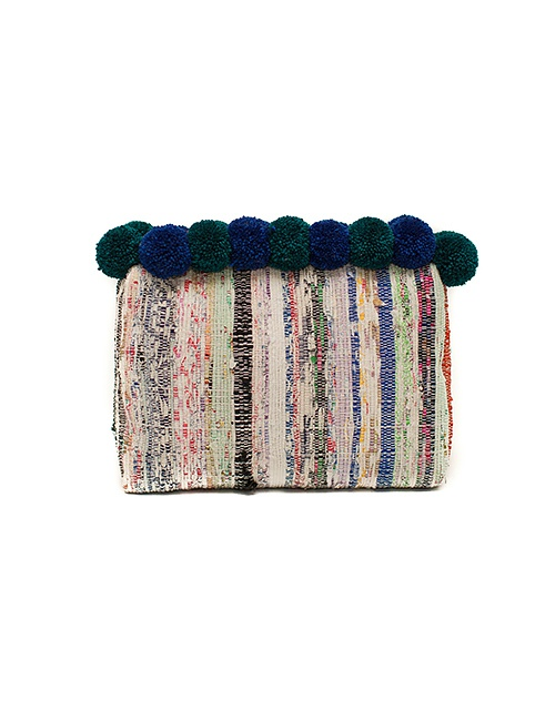 Hannah Pompom Clutch in Emerald & Sapphire