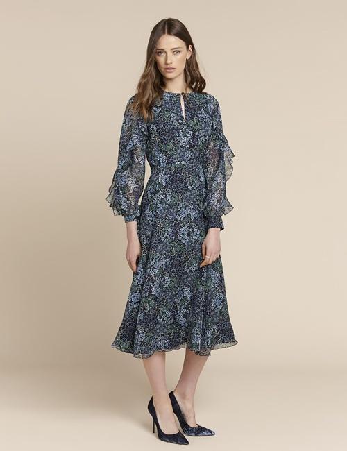 Ophelia Floral Ruffle Sleeve Dress