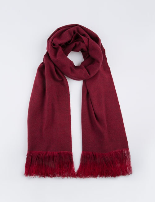 Hand Woven Ombre Fringe Scarf (Wine) - Made to Order