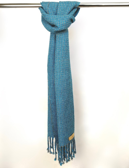 Unisex Houndstooth Medium Grey And Turquoise Handwoven Alpaca Scarf