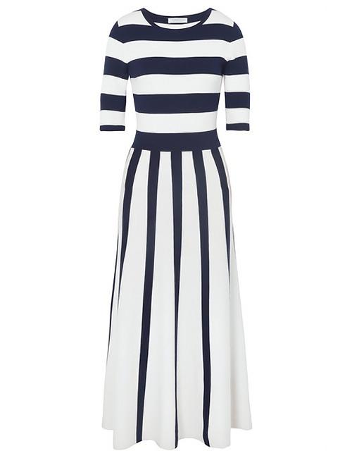 Capote striped wool-blend midi dress