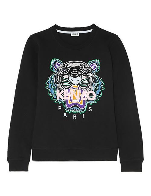 Icon Tiger-embroidered cotton-jersey sweatshirt