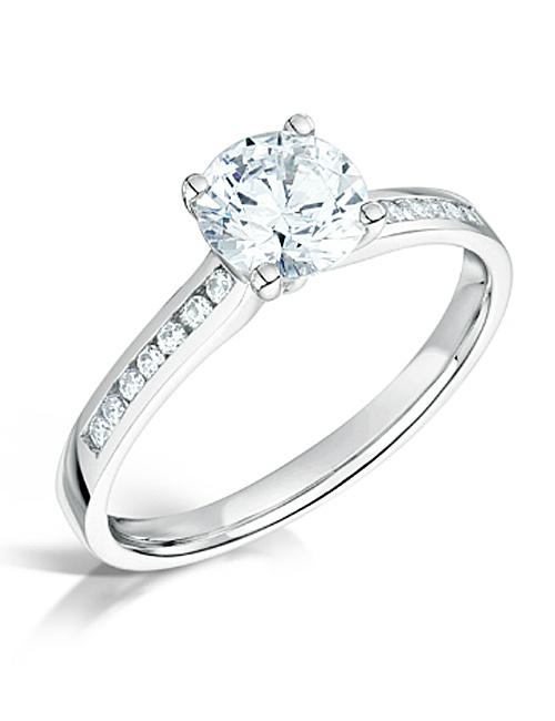 Channel Set Diamond Shoulders Engagement Ring