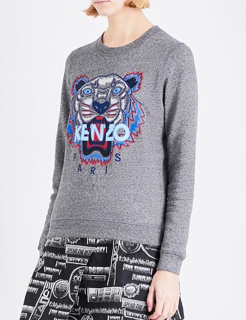Tiger-embroidered cotton-jersey sweatshirt