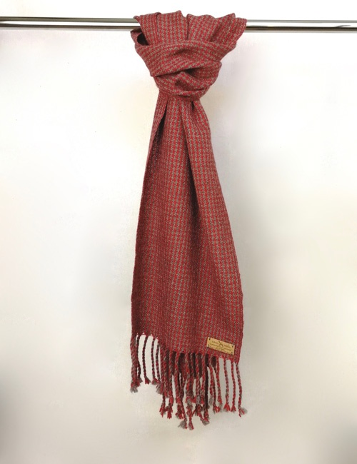 Unisex Houndstooth Medium Grey And Red Handwoven Scarf