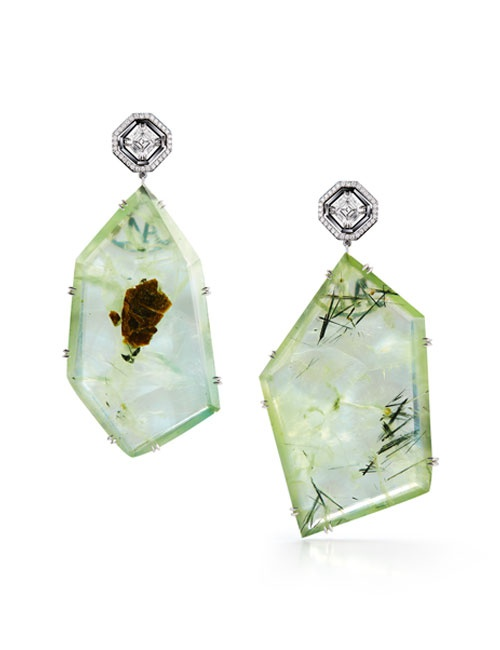 Asscher-Cut Diamond and Prehnite Precious Stone Earrings
