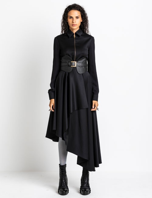 Asymmetric Woollen Dress