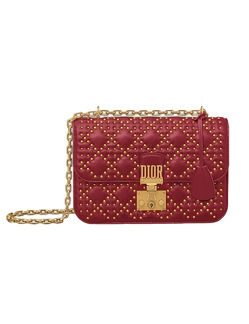 Dioraddict Flap Bag in Red Studded Cannage Lambskin