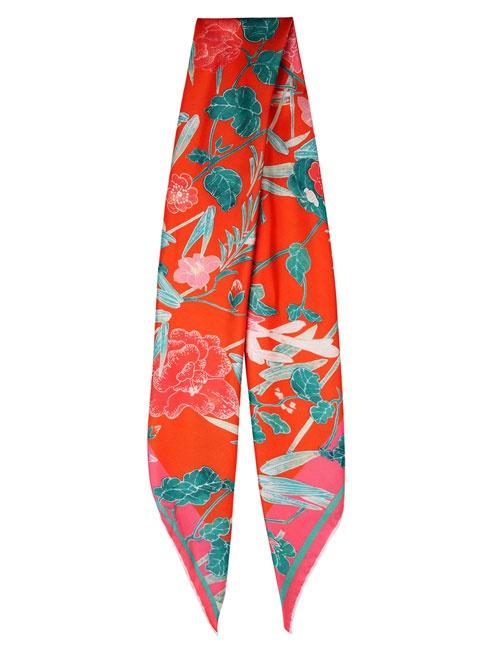 Sita Red Oriental Print Silk Scarf
