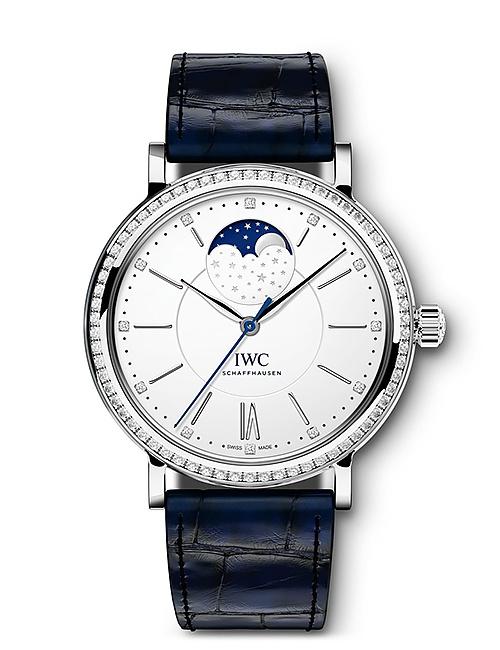 Portofino Automatic Moon Phase 37 with Diamonds & Blue Alligator Watch Strap