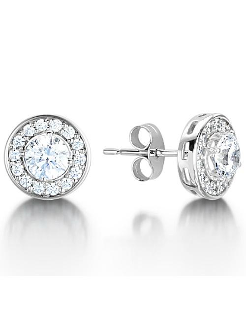 Round Cluster Halo Diamond Studs