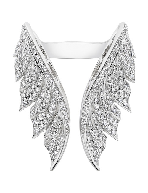 Magnipheasant - 18k White Gold & White Diamond Pave Open Feather Ring