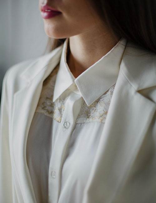 Gold Lace Silk Blouse
