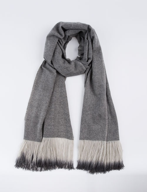 Hand Woven Ombre Fringe Scarf (Grey)