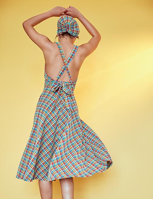 'Artemis' Swim Dress in 'Orange Rainbow Gingham'