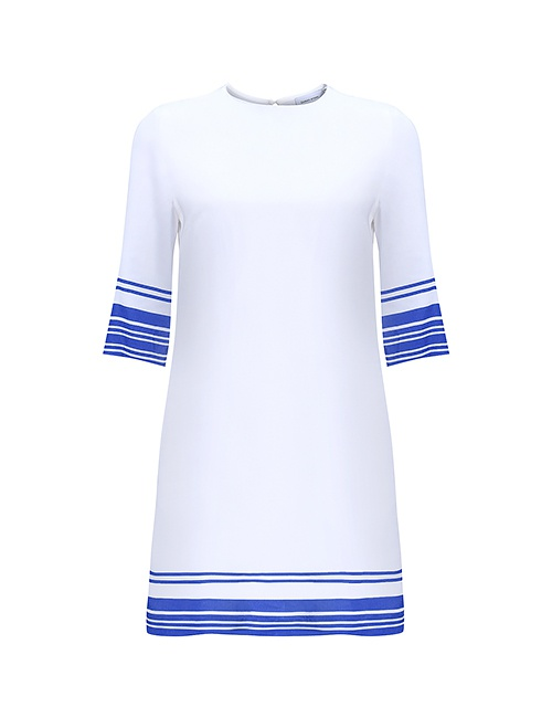 Tencel Box Dress with Blue Stripes