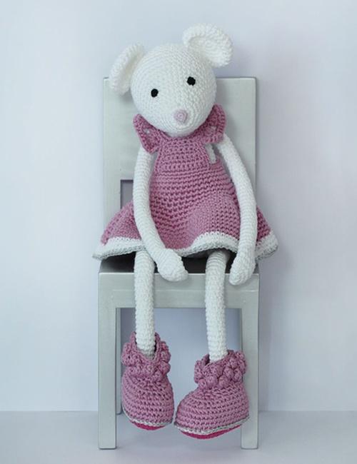 Alba White Mouse in Pink Dress Leggybuddy - L