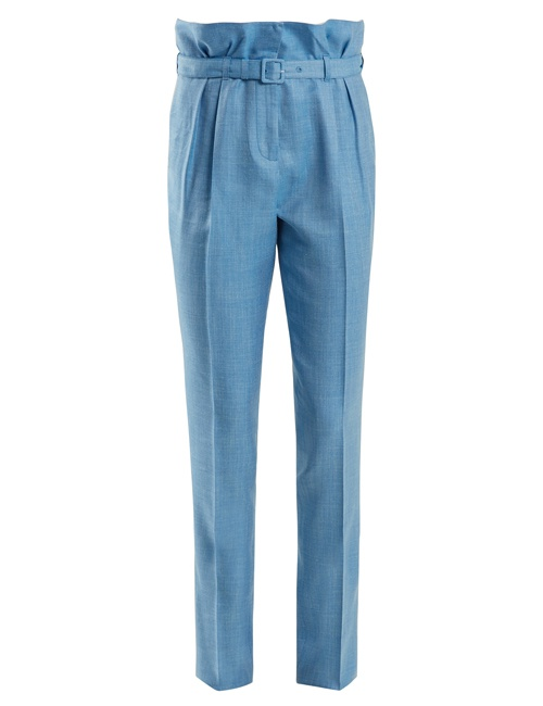 Beatrice slim-fit wool and silk blend trousers in Blue