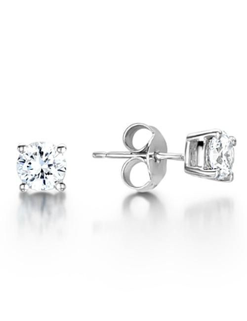 Four Claw Diamond Stud Earrings