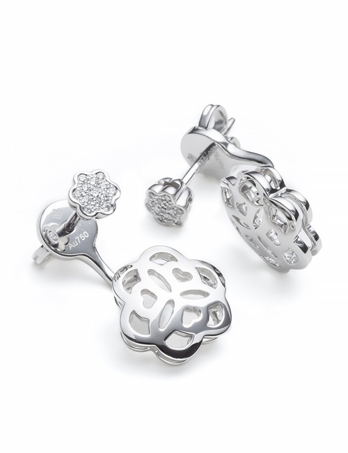 Mandala Collection Earrings Rose White