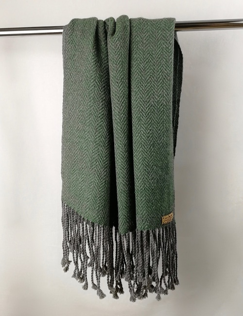 Unisex Herringbone Medium Grey And Bottle Green Handwoven Shawl
