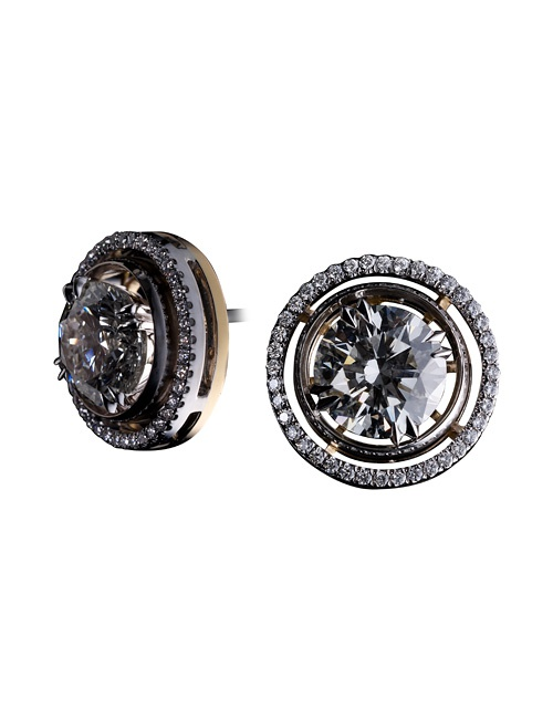 Round Diamond Studs with Diamond Earring Jackets