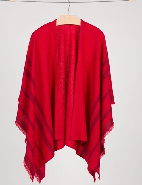 Cashmere Blend Fringed Travel Wrap – Crimson & Garnet (One Size)