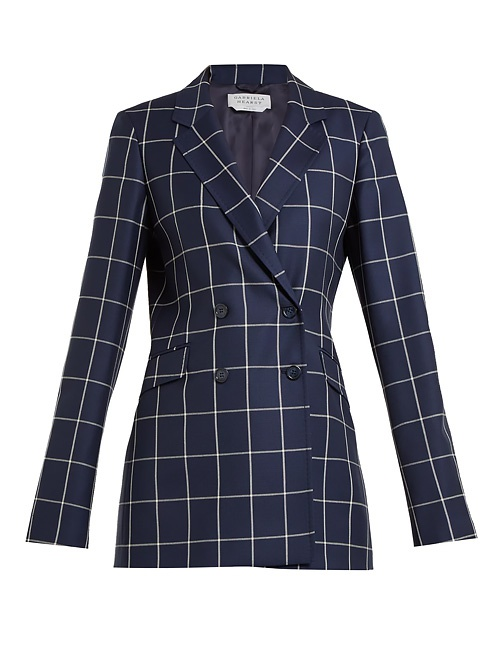 Miles double-breasted checked wool blazer