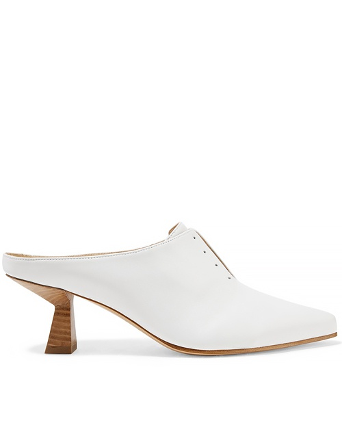 Antoinette Leather Mules in White