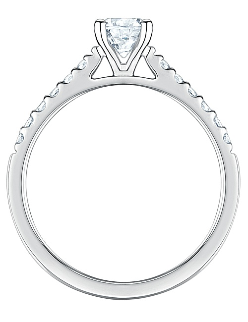 Four Claw Diamond Shoulders Engagement Ring