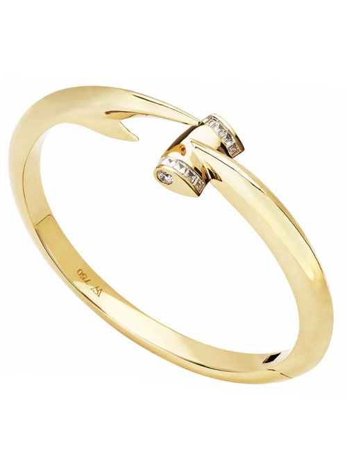 Jewels Verne - Hammerhead 18k Gold & White Diamond Bangle