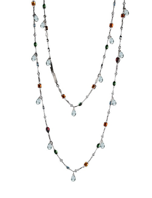Color gemstones & diamond Sautoir Necklace with White Topaz Dangaling Briloettes