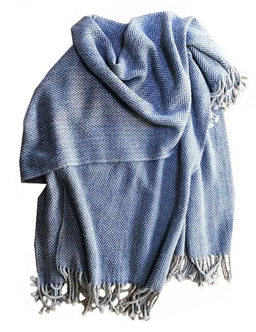 Unisex Herringbione Light Grey and Blue Alpaca Wrap Cape