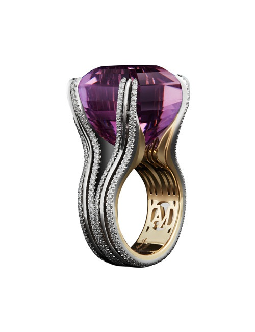 Asscher-Cut Amethyst & Diamond Ring