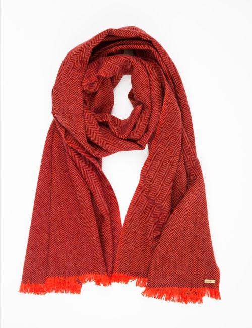 Hand Woven Cashmere Blend Herringbone Wide Scarf – Red