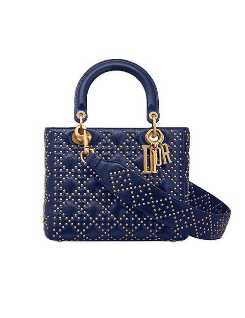Supple Lady Dior Bag in Studded Blue Calfskin
