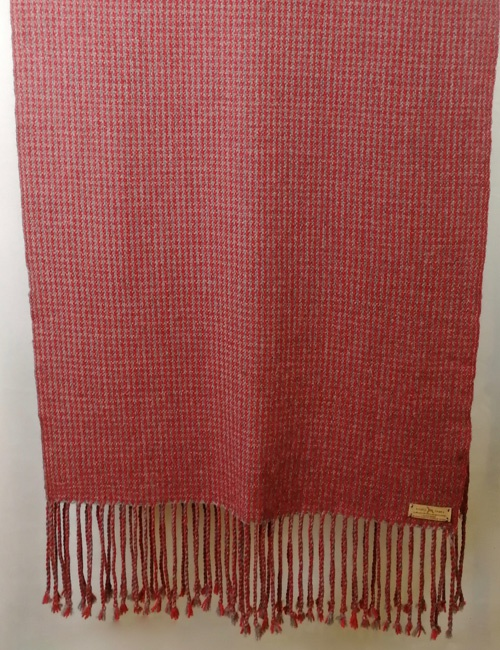 Unisex Houndstooth Medium Grey And Red Handwoven Alpaca Shawl