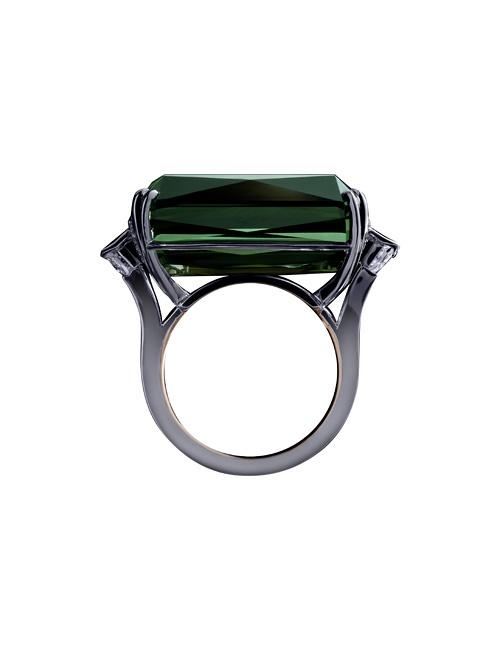 Green Tourmaline Diamond Platinum Cocktail Ring