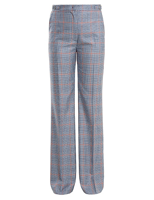 Vesta checked wool and silk-blend trousers