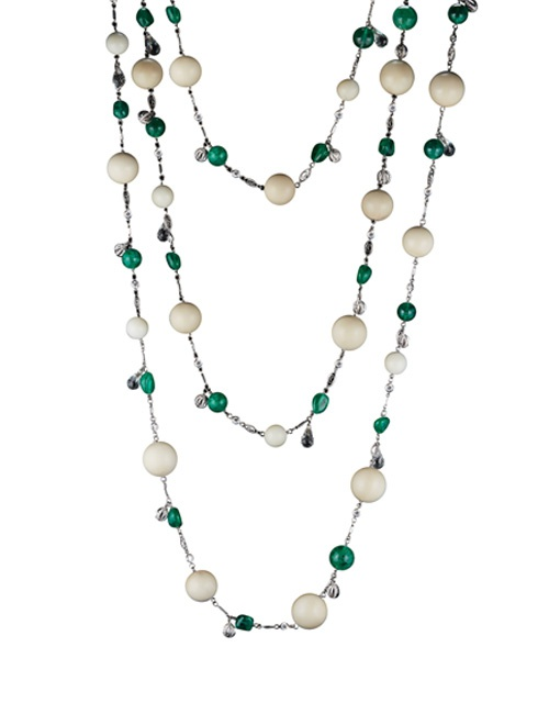 Tagua and Muzo-Mine Emeralds Nuggets and Bead Sautoir Necklace
