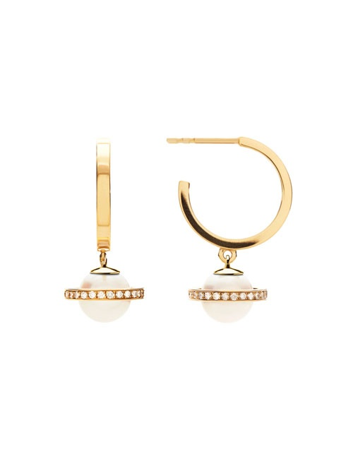 Micro Saturn Hoops Stoned Yellow Gold