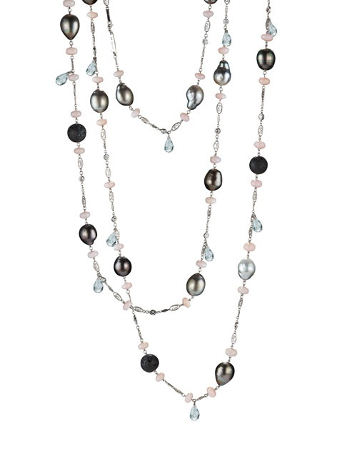 Pink Opal, Lava beads and barouqe pearls Sautoir Necklace with Dangling white topaz Briolettes