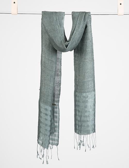 Lotus/Silk Border Stripe Scarf – Grey