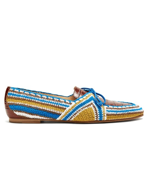 Hays leather crocheted loafers
