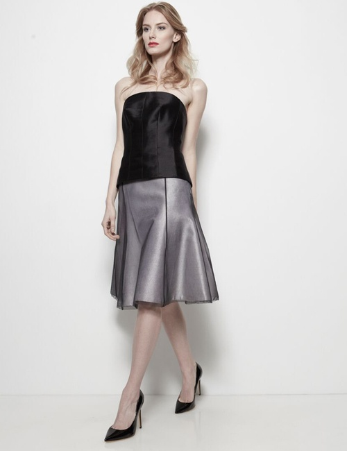 Flare Skirt with Black English Bobbinet Tulle Overlay